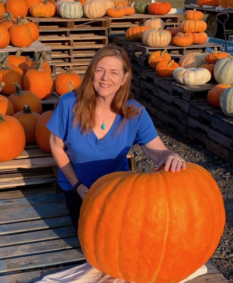 Pam in pumpkin patch
